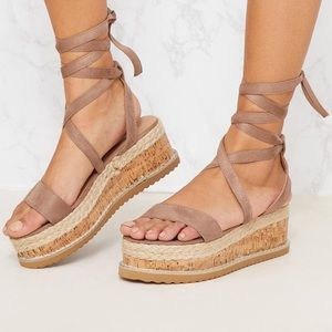 Shoes - Flatform Tie Up Espadrille Sandals